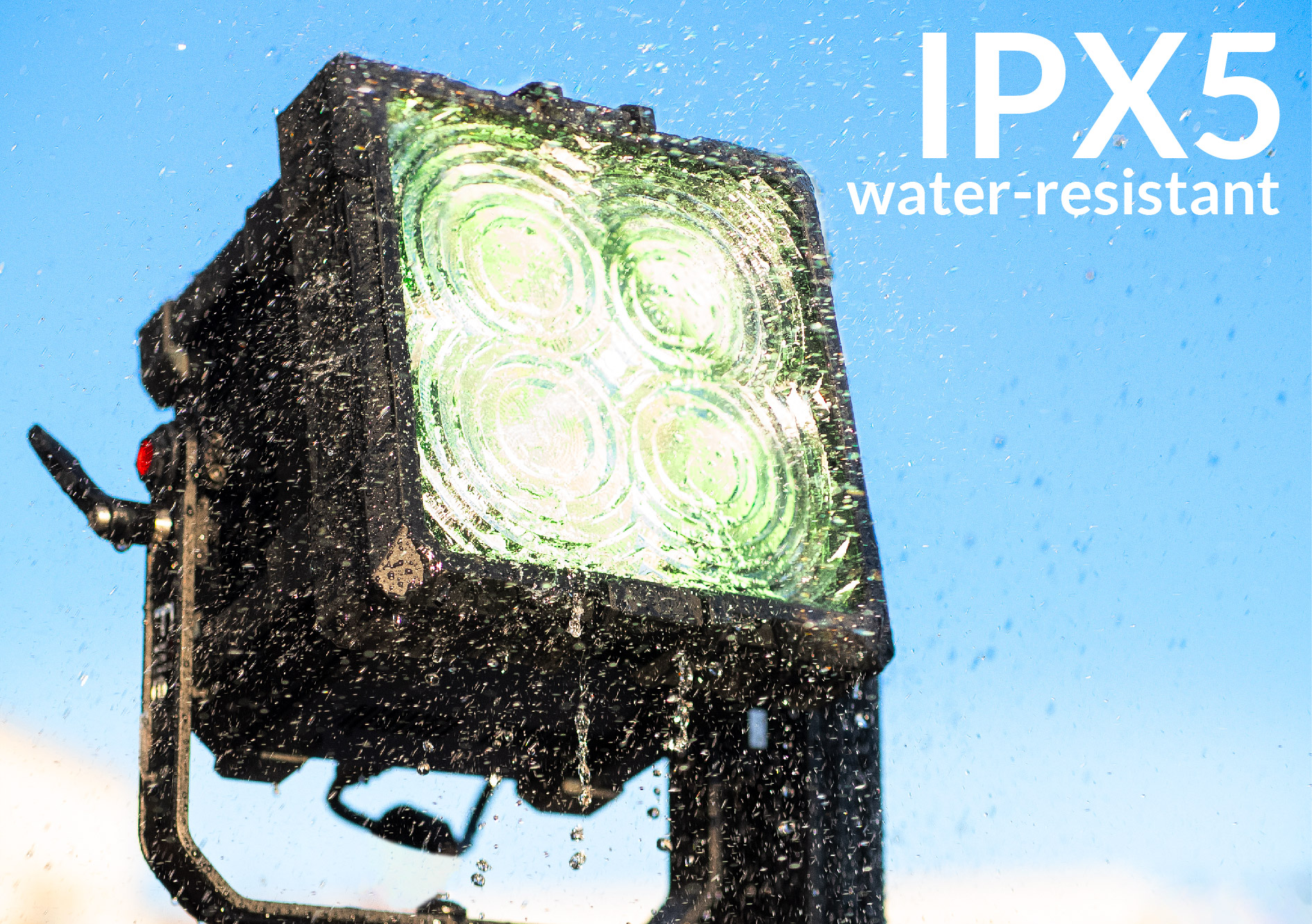 IPX5 water-resistant
