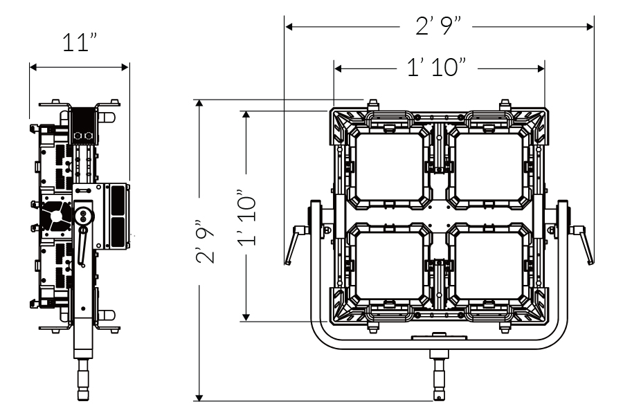 Fiilex QUAD Mechanical drawing